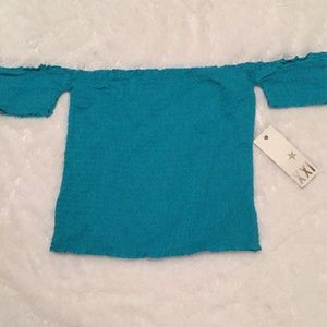 NWT girly top.  Teal blue/green.  Off shoulder.